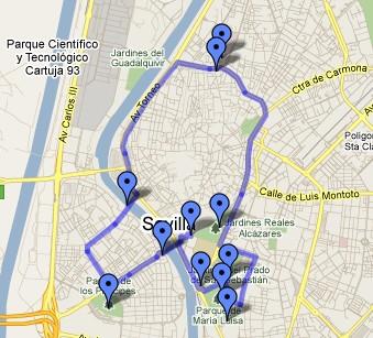 Ruta en bici rodeando el casco antiguo de Sevilla